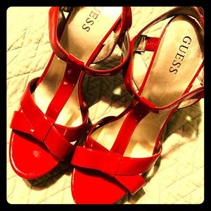 Deep red high heel Guess shoes, size 8M. Used.